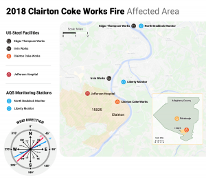Map showing the areas affected by the 2018 Clairton Coke Works Fire