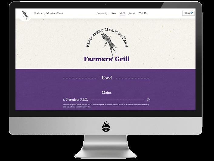 Screenshot of blackberrymeadows.com, showing the farm grill menu
