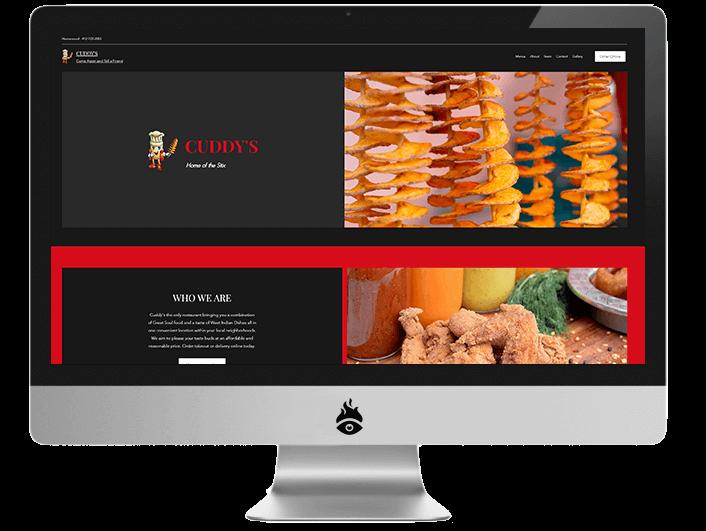 Computer screen displaying a screenshot of Cuddy's website
