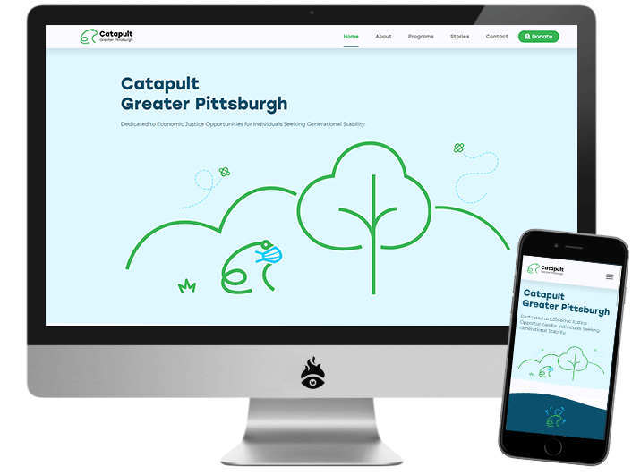 Computer screen and mobile device displaying the Catapult Greater Pittsburgh website